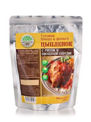 Цыпленок с рисом и овощным соусом 250г